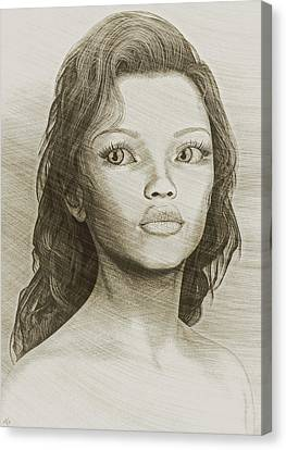 Canvas Print featuring the digital art Sketched Portrait by Maynard Ellis