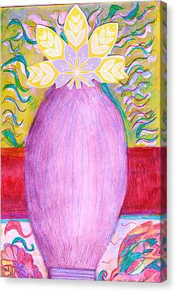 Sketched Vase With Imagined Flowers Canvas Print by Anne-Elizabeth Whiteway