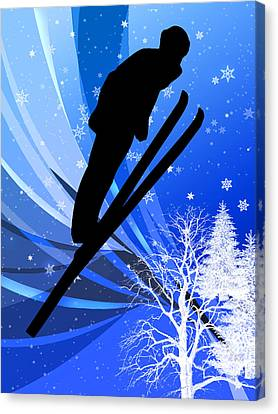 Ski Jumping In The Snow Canvas Print by Elaine Plesser