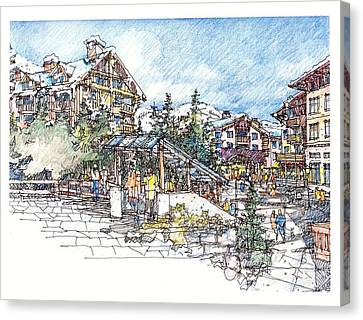 Canvas Print featuring the drawing Ski Village by Andrew Drozdowicz
