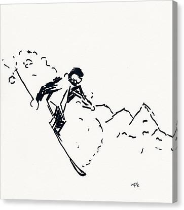 Skier V Canvas Print by Winifred Kumpf