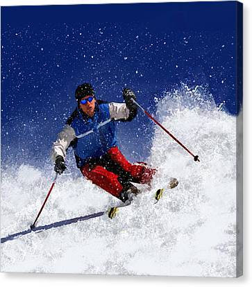 Skiing Down The Mountain Canvas Print by Elaine Plesser