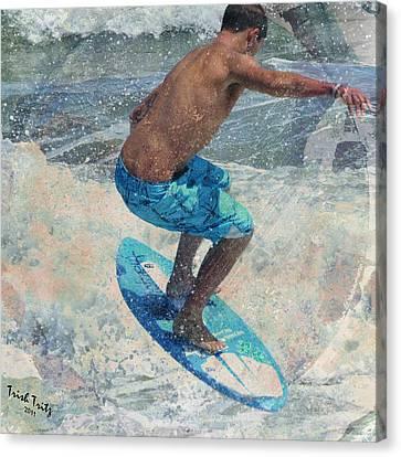 Skimboardin' In Dewey Canvas Print by Trish Tritz