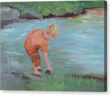 Canvas Print featuring the painting Skipping Stones by Carol Berning