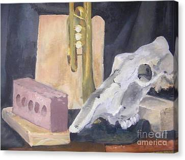 Skull And Brick Canvas Print by Delores Swanson