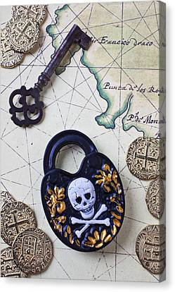 Charts Canvas Print - Skull And Cross Bones Lock by Garry Gay