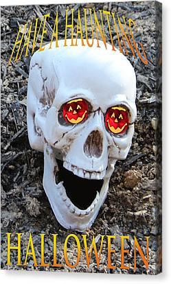 Skull Halloween Card Canvas Print by Debra     Vatalaro
