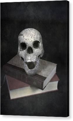Skull On Books Canvas Print by Joana Kruse
