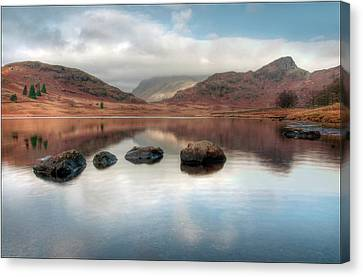 Sky And Mountain Reflection In Lake Canvas Print by Terry Roberts Photography