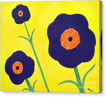 Canvas Print featuring the painting Sky High Flowers by Alys Caviness-Gober