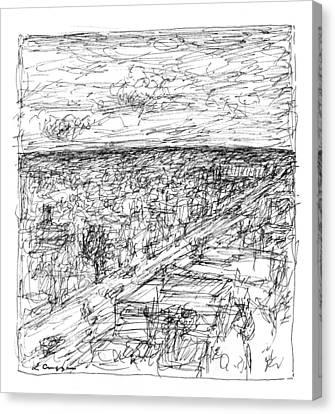 Skyline Sketch Canvas Print by Elizabeth Carrozza