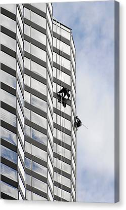 Skyscraper Window-washers - Take A Walk In The Clouds Canvas Print by Christine Till
