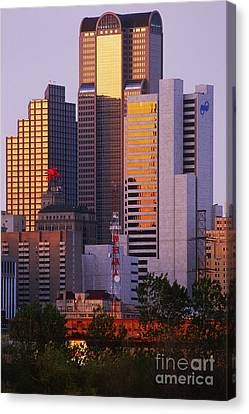 Skyscrapers In Downtown Dallas Canvas Print by Jeremy Woodhouse