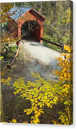 Slaughter House Bridge And Fall Colors Canvas Print by James Forte