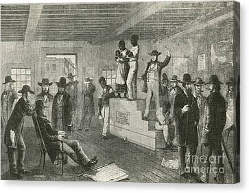 Slave Auction, 1861 Canvas Print by Photo Researchers
