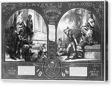 Slavery, Two Illustrations Showing Canvas Print by Everett