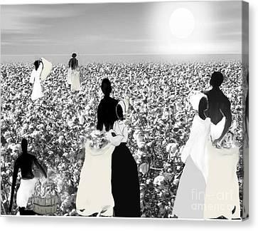 Slaves Picking Cotton Canvas Print by Belinda Threeths