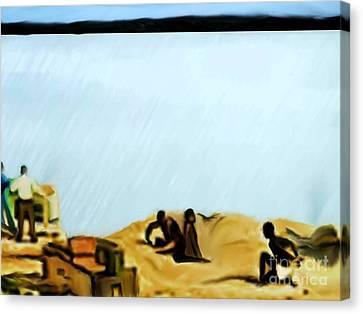 Slaves Waiting For Ship Canvas Print by Belinda Threeths