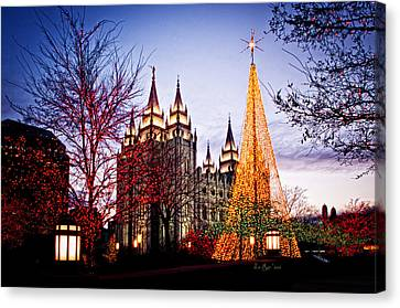 Slc Temple Tree Light Canvas Print by La Rae  Roberts