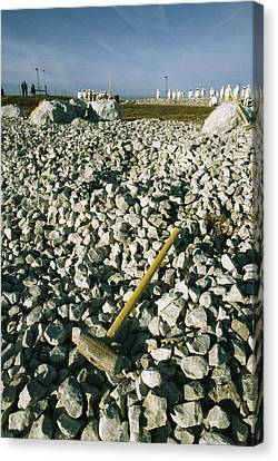 Sledgehammer In A Field Of Rock Canvas Print by Bill Curtsinger