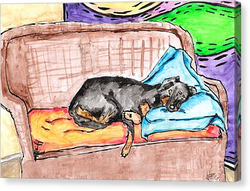 Sleeping Rottweiler Dog Canvas Print by Jera Sky