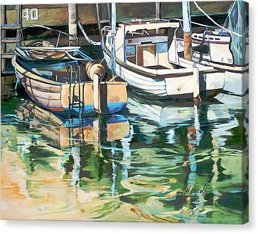 Canvas Print featuring the painting Sleepy Harbor 3 by Rae Andrews