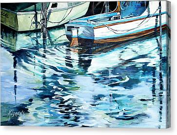 Canvas Print featuring the painting Sleepy Harbor  by Rae Andrews