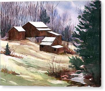 Sleet On Sheds Canvas Print by Jeff Mathison
