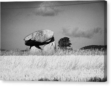 Slidderyford Or Wateresk Dolmen Situated In The Middle Of A Field Of Barley In County Down Northern  Canvas Print by Joe Fox