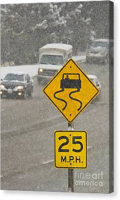 Slippery When Wet Road Sign Canvas Print by Thom Gourley/Flatbread Images, LLC