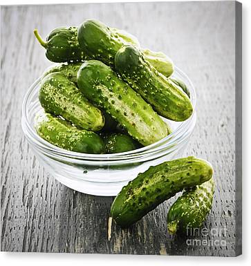 Small Cucumbers In Bowl Canvas Print by Elena Elisseeva