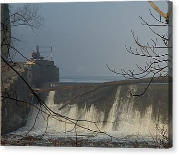 Small Dam In Fog Canvas Print