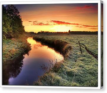 Small River At Sunrise Canvas Print by H-L-Andersen
