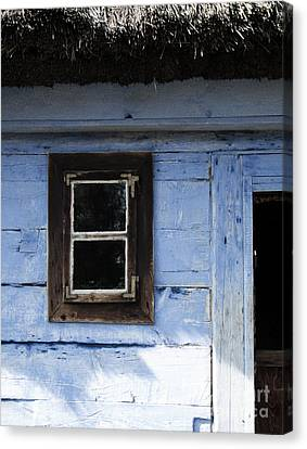 Canvas Print featuring the photograph Small Window On Blue Wall by Agnieszka Kubica