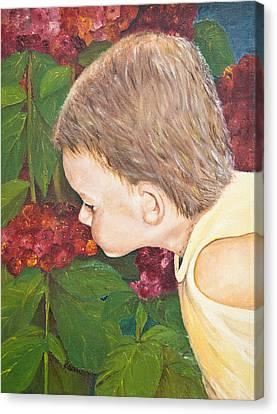 Smelling The Hydrangeas Canvas Print