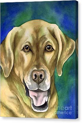 Smiley Yellow Lab Canvas Print by Cherilynn Wood