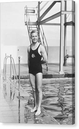 Smiling Man In A Ounepiece Swimsuit, Swimming Pool Canvas Print by Archive Holdings Inc.