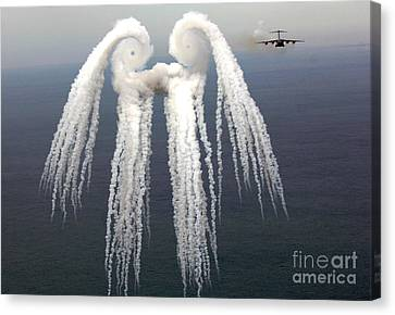Smoke Angel Created By Wingtip Vortices Canvas Print by Photo Researchers