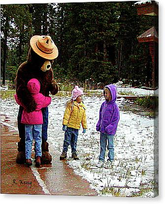 Canvas Print featuring the photograph Smokey And The Girls by Roena King