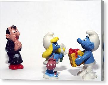 Toy Shop Canvas Print - Smurf Figurines by Amir Paz