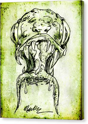 Canvas Print featuring the drawing Snake Monster  by Nada Meeks
