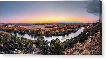 Snake River Panoramic Sunset Canvas Print by Leland D Howard