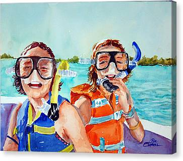 Canvas Print featuring the painting Snorkel Girls by Ron Stephens