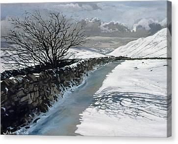 Snow Above Barbondale - Barbon Canvas Print by John Cooke