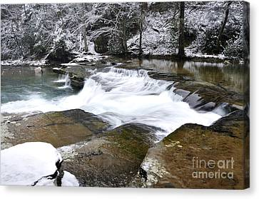 Snow Along The Back Fork Of Elk River Canvas Print by Thomas R Fletcher
