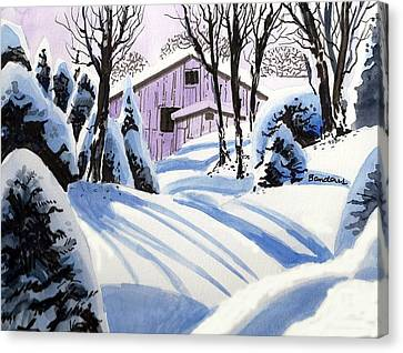 Canvas Print featuring the painting Snow And Shadows by Terry Banderas