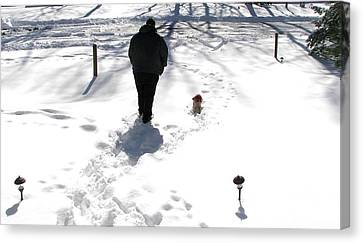 Canvas Print featuring the photograph Snow Buddies by Pamela Hyde Wilson