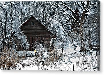 Snow Covered Barn Canvas Print