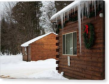 Snow Covered General Store Canvas Print by Ann Murphy