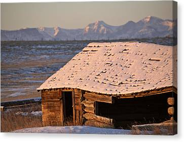 Snow Covered Rocky Mountains In Alberta Winter Canvas Print by Mark Duffy